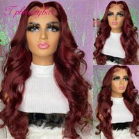 Lace Wigs Red Color 4x4 Closure Wig Wavy Human Hair For Women Remy Brazilian 180% With Baby