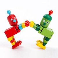 Komik Ahşap Bloklar Kuklalar Robot Bebek Yapı Taşı Montessori Oyuncaklar Çocuklar Için Action Figure Oyuncak Esnek Eklemler Çocuklar Hediye