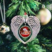 Fashion Design Party Bomboniere Sublimation Blanks Ornamento di Natale Decorazioni Angelo Ali Forma Blank Aggiungi la tua immagine e sfondo