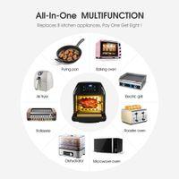 Yeeyo Electric Air Rotisserie Forno Bakeware 10-in-1 Fritador 12 litros 1500W para uso doméstico, inclui 10 predefinições de cozinhar livro de receitas Cozinha Acessórios