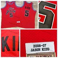 Vintage 2006-2007 New Jersey Basketbol Formaları Erkek Kırmızı 5 Jason Kidd Dikişli Gömlek S-XXL Mesh Yüksek Kalite
