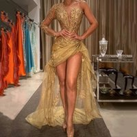 Sexy African Prom Pageant Dresses Luxury Gold Lace Appliques High Low Evening Gowns One Shoulder Long Sleeve Arabic Formal Party Wear Dubai Kaftan Abaya AL9202