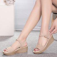 드레스 신발 Weibate 스웨이드 웨지 샌들 여성 여름 두꺼운 플랫폼 방수 로마 단어 버클 야생