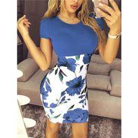 Blumendruck Dame Kleider Elegante Tunika-Paket Hüftkleid Vesitdo Plus Szie Bodycon Frauen Sommer Slim Boho Kleid