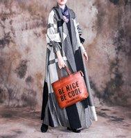 가을 겨울 유럽과 미국 격자 무늬 코트 캐주얼 웨슬리 코튼 접합 양모 긴 여성 의류 여성 트렌치 코트