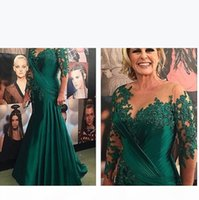 Vestido De Madrinha Plus Size Mother of the Bride Dresses 2021 Green Satin Mermaid Evening Long Sleeve Women Dress