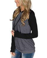 2021 women's color blocking Hoodie casual lightweight drawstring Pullover Sweatshirt autumn long sleeve top