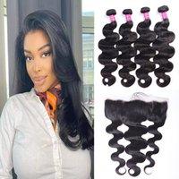 Unprocessed Virgin Human Hair Bundles Weaves Straight Body Wave Brazilian Indian Peruvian Weft Extensions 4 Bundles With 13*4