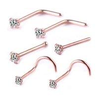 6pcs acier chirurgical zircon gemme nez nez nez perforant boucle d'oreille anodisé rose or couleur nez nez bague broyeur de corps de nez 345 q2