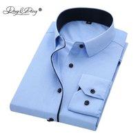 Davydaisy высокое качество мужчины рубашка с длинным рукавом сплошной причинно-следственный формальный бизнес рубашка бренд платья рубашки ds085 210705