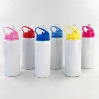Süblimasyon bardak su şişesi 600 ml alüminyum spor su ısıtıcısı açık taşınabilir içme kupası büyük kapasiteli kahve kupa ile kapak A02