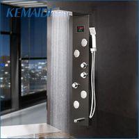 12 Choice Black Doccia Doccia rubinetto Cauct Temperatura del bagno Display digitale Pannello LED Body Massage System Gems Set da bagno