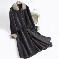 Tcyeek Real Fur Coat Female Long Vintage Mink Collar Sheep S...