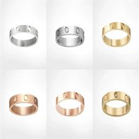 Titanium Steel Silver Gold Rose Zircon Mâle et Femme Love Anneau Bague Bijoux Un cadeau de mariage pour les nouveaux mariés