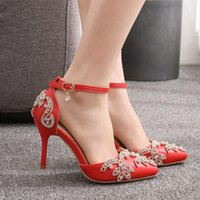Dress Shoes Women High Heels Wedding Thin White Diamond Glittering Evening Sandals Bride RED Crystal Pumps For Party