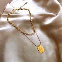 Pendant Necklaces Arrival Luxury 316L Titanium Steel Necklace Double Shield Letter Jewlery Charms For Women