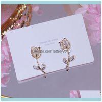 Stud Jewelrystud Romantic Elegant Shiny Flower Earrings For Women Designer Creativity Luxury Jewelry High Quality Zircon S925 Needle Drop De