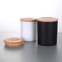 촛불을위한 대나무 뚜껑을 가진 빈 유리 컵 항아리 왁스 크림 젖빛 명확한 매트 블랙 150g 맞춤형 라벨 스티커 캔들 선박 홀더