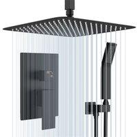 10インチの正方形の真鍮のレインシャワー - ヘッド、ハンドヘルドとシャワーの蛇口が付いている天井に取り付けられたシャワーシステムセット