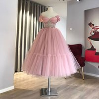 Princess Pink Prom Dress Short 2021 Off the Shoulder Graduation Party Wear Tulle Beads Girl Quinceanera Homecoming Gowns