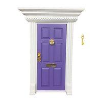 Neue Großhandel 1:12 Puppenhaus Miniatur Fee Türen Rot Blau Rosa Lila Heißrosa Gelb 6 Farben Metallzubehör Exquisit y0329