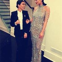 Celebrity dress Evening dress Labourjoisie Sheath Silver Crystal High Neck Yousef aljasmi Kylie Jenner Zuhair murad Kim kardashian