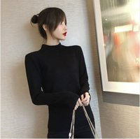 2021 가을 / 겨울 여성의 긴 소매 뜨개질 스웨터 간단한 스타일 패션 얇은 꽉 니트웨어 무료 배