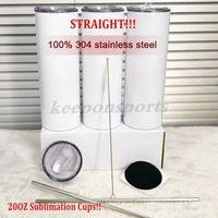 Tumblers di sublimazione dritto 20oz 100% Real 304 Bottiglie d'acqua insultata in acciaio inox 304 per regali fai da te casa campeggio caffè tazze da tè