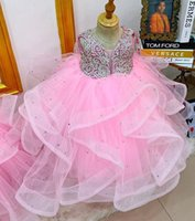 2021 Pink Luxurious Crystals Flower Girl Dresses Ball Gown Tulle Bow Lilttle Kids Birthday Pageant Weddding Gowns ZJ676
