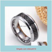 클러스터 쥬얼리 링 링 6 / 8mm 블랙 탄소 섬유 망석 카바이드 약혼 반지 웨딩 밴드 남성 여성 쥬얼리 브랜드 드롭 배달