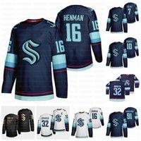 16 Luke Henman Seattle Kraken 2021 Jersey de hockey 7 Devon Toews 10 Matthew Beniers 91 Carl Grundstrom 32ème Nouvelle équipe Maillots personnalisés