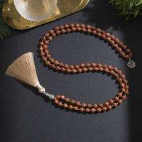 Pendant Necklaces 8mm Natural Sandstone Beaded Japamala Necklace Meditation Yoga Spiritual Healing Jewelry 108 Mala Rosary Tibetan Tassel