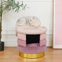 Camas de gato Móveis Cat's Nest Sool Four Seasons General Fechado Villa Adorável Dobradura Removível Mat Red Pet Supplies