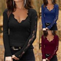 티즈 탑스 봄 여성 새로운 캐주얼 슬림 바닥 tshirts 여성 레이스 메쉬 티셔츠 패션 트렌드 V 넥 긴 소매