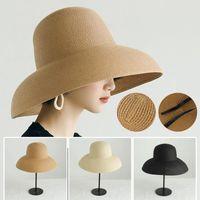 Wide Brim Hats 2021 Handmade Women Summer Sun Hat Big Eaves Beach Japanese Hepburn Style Holiday Fold Fisherman Cap Temperament Flat Dropshi