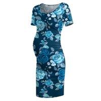 Maternity Dresses Soft Women Mom Pregnancy Summer Floral Clothes Printing Robe Comfortable Short Sleeves Nursing Dress #Z