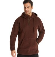 Autumn new double-sided polar fleece mens sweater European and American large size hoodie outdoor solid color sweater
