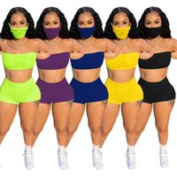 Women letter Tracksuits sexy Two piece sets sleeveless crop top+mini shorts+mask summer clothing casual Sweatsuit Plus size S-2XL 4848