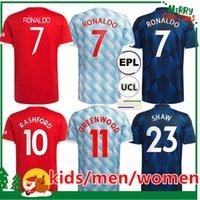 21 22 Manchester Ronaldo Soccer Jersey 2021 2022 Sancho Pogba Cavani Van de Beek B. Fernandes Rashford Greenwood Varane United Football Shirt Femme Kit Kit + Hommes