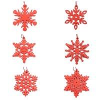 Bladwijzer 6 stks / pak Kerst Sneeuwvlok Houten Opknoping Ornament Tree Elk Trojan Decoration Xmas Home Decor