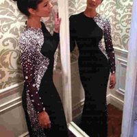 Arabic Dubai Luxury Crystals Beaded Black Formal Evening Dresses Mermaid Long Sleeves Jewel Neck Bling Party Prom Dress Celebrity Gowns 2022