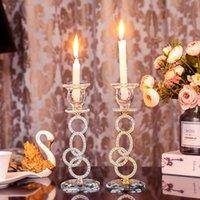 Kerzenhalter Silber Kristall Säule Halter Kaffee Esstisch Hochzeit Weihnachten Halloween Dekoration Fabrik Direct Sale
