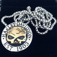 2pcs lot Motorcycles Biker Skull Necklace 316L Stainless Steel Jewelry Gold Silver Men Boys Pendant With Chain