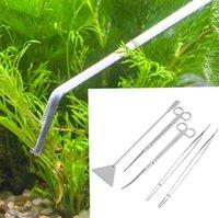 5 in 1 Aquarium Tools Set Stainless Steel Curved Scissors 27cm Tweezers for Big Fish Tank Aquatic Plant Cleaning Tool 60set lot SN2685