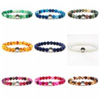 10 Colors Dog Footprint Paw Charms Bracelet Pet Lover 8mm Colourful Natural Stone Beads Bracelets Bear claw stretch Jewelry
