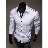 Camisas de vestido para hombre Nuevo estilo de moda Hot Hot's Manga de manga larga Botón Patchwork con bolsillo Botón formal Top liso