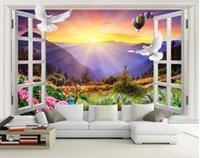 Landscape Wallpaper Murals Peony Balloon Window Views 3d Eurpean Minimalist Bedroom Living Room TV Backdrop Wallpapers