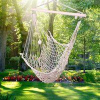 Waco maille hamac filet swing, décorations de jardin pendaison de corde nette coton doux coton maya siège de la chambre à coucher de jardin porche intérieur intérieur extérieur, 300 lb (beige)