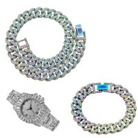 Chains Hip Hop 13MM 3pcs Kit Iced Out Full Paved Rhinestone Miami Curb Cuban Multicolor Necklace+Watch+Bracelet For Men Women Jewelry