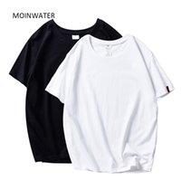 Moinwater novas mulheres camisetas 2 partes / pacote Solid Solid Casual 100% algodão confortável camisetas senhora Tees manga curta tops 210320